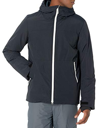 Amazon Essentials Men's Long-Sleeve Insulated Water-Resistant Hooded Snow Jacket, Black, Large