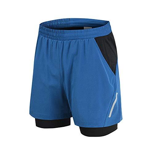 Secado Rápido Shorts Core Pants de Tenis Running Fitness Gimnasio AtletismoShorts Deportivos de Running de Doble Capa-Azul_Metro
