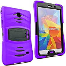 Galaxy Tab 4 7.0 2014 T230 Case, KIQ Shockproof Full-Body Military Drop Proof Heavy Duty Cover Kickstand Screen Protector for Samsung Galaxy Tab 4 7 SM-T230 SM-T230NU (Armor Purple)