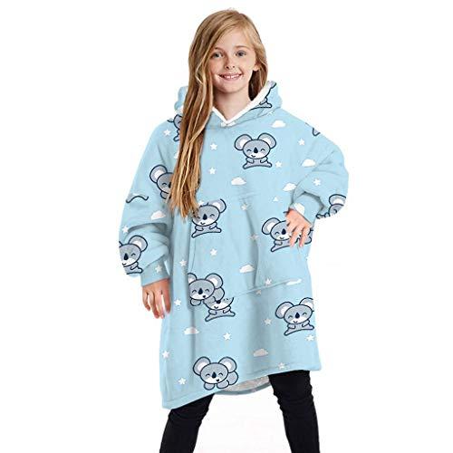 NXYJD Los niños Imprimir Manta Sudadera con Capucha Manta con Bolsillo de Gran tamaño usable Manta for Niños 2020 Moda Caliente Homewear Top (Color : A)