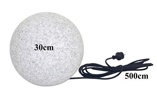 Trango IP65 Gartenkugel in Granit-Optik 30cm Durchmesser TG300G incl.1x E27 Fassung & 5m Outdoorkabel I Kugelleuchte I Leuchtkugel I Außenlampe I Außenleuchte I Außenkugel