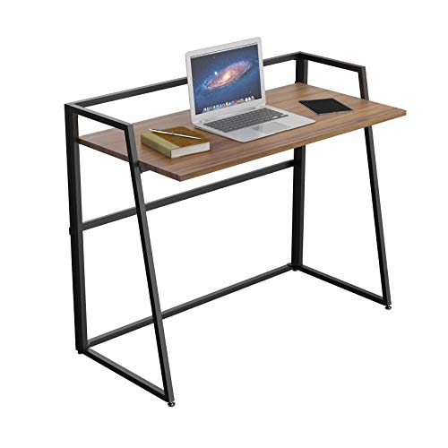 Eureka Ergonomic 41 inch Folding Table, Home Office Collapsible Study Writing PC Computer Desk for Small Spaces Free Assembly, Walnut