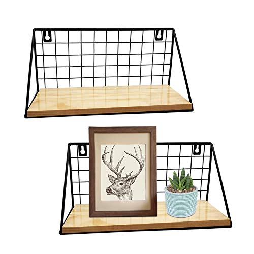 Estantes flotantes rústicos montados en la pared, juego de 2, modernos estantes de almacenamiento de pared de madera con rejilla de alambre de metal, estante de exhibición para decoración del hogar