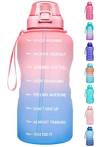 Fidus Large 1 Gallon/128oz Motivational Water Bottle with Time Marker & Straw,Leakproof Tritan BPA Free Water Jug,Ensure You Drink Enough Water Daily for Fitness-Pink/Blue Gradient