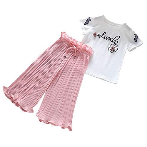 LUKALI Fille Ensemble Hauts Tops Tee Shirt Manches Courtes + Pantalon Large, Vetement Chic Mode DéContractéE Beau Joli Mignon Mode Soiree FêTe pour 3-12 Ans De Pyjama Sport(Rose,150)