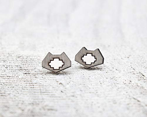 Gray Cat Stud Earrings, Geometric Studs, Valentines Day Gift for Her