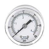 Manómetro de presión hidráulica del compresor de aire NPT de 1/8 '' 0-60 PSI Montaje posterior