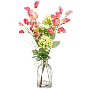 15″ Sweet Pea & Snowball Silk Flower Arrangement -Green/Pink (Pack of 6)