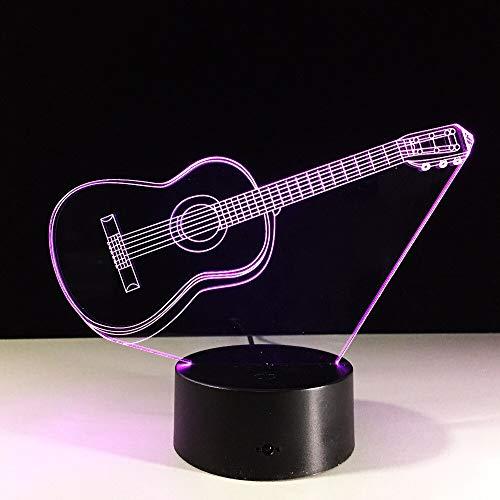 Luz Guitarra Color Noche luz niño Toque Reloj bebé Dormir luz...