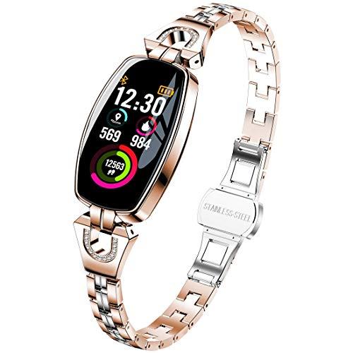 LG&S wasserdichte Sport-Smartwatch, Fitness Tracker mit Herzfrequenzmesser, Schritt Kalorienzähler, Call Reminder, Remote Camera für Android & Ios,Gold