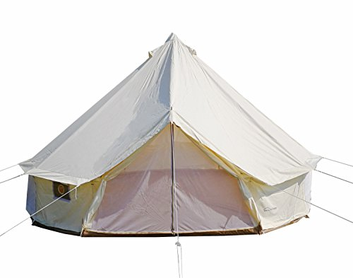 DANCHEL OUTDOOR 4 Season Oxford Glamping Tent, Waterproof Yurt Tent Bell Tent with Stove Jack for Camping White 5M=16.4ft