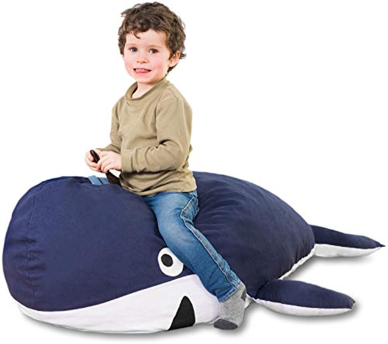 Kindersitzsack Wal - Tierform Sitzsack für Kinder - Kindermbel Walfisch Stofftier aus Baumwolle