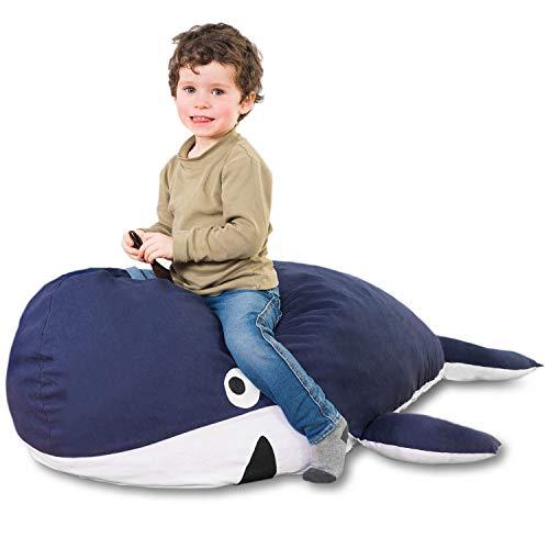 SMOOTHY Kindersitzsack Wal - Tierform Sitzsack für Kinder - Kindermöbel Walfisch Stofftier aus Baumwolle