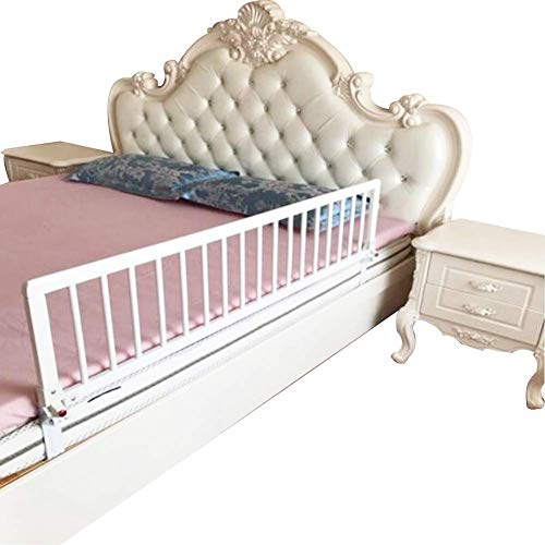 Bed Rail Child Fall Prevention Fence Folding Operation Silent Spring Safety Button Easy To Operate Wood, 2 Colors, 9 Sizes (Color : White, Size : 105x52cm) Baibao (Color : White, Size : 105x32cm)
