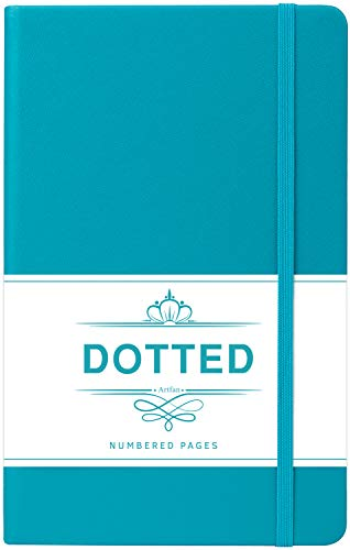 Bullet Grid Journal - Index & Numbered Pages Dotted Grid Hard Cover Notebook, Thick Paper with Inner Pocket & 2 Bookmarks, Smooth Faux Leather with Label, 5.25' x 8.25' - Teal by Artfan