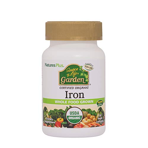 Nature's Plus Source of Life Garden Iron - 18 mg, 30 Vegan Capsules - Certified Organic Plant Based Iron Supplement - Vegan, Gluten Free, Yeast Free - 30 Servings