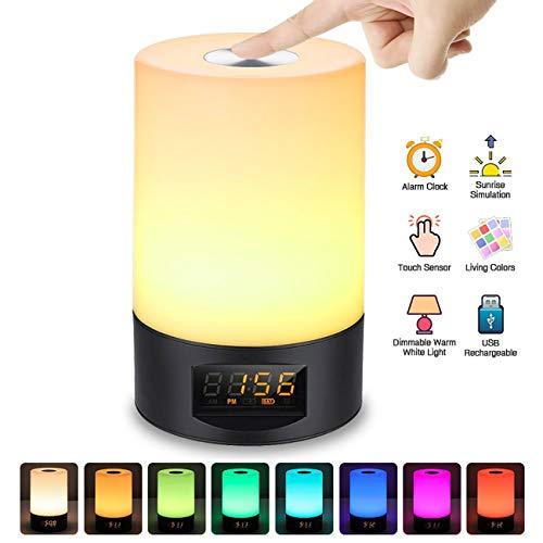 JiAWEI nachtlampje, nachtlampje, led, touchscreen, USB, omzetting van 8 kleuren met klok, 3 W, zwart