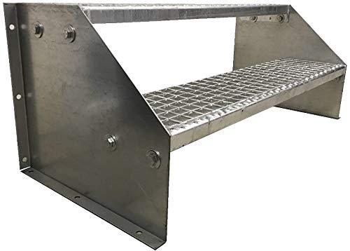 2 Stufen Standtreppe Stahltreppe freistehend Breite 80cm Höhe 42cm Verzinkt/Robuste Außentreppe/Stabile Industrietreppe für den Außenbereich