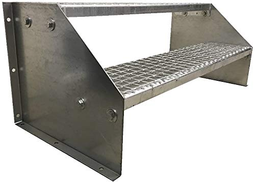 2 Stufen Standtreppe Stahltreppe freistehend Breite 60cm Höhe 42cm Verzinkt/Robuste Außentreppe/Stabile Industrietreppe für den Außenbereich