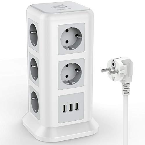 TESSAN 11 Fach Steckdosenleiste (2500W/10A) 3 USB Mehrfachsteckdose mit Schalter, Mehrfachstecker Steckerleiste Überspannungschutz verteilersteckdose Stromverteiler für Zuhause Büro, 2M, Weiß
