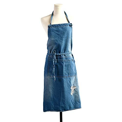 XuHang Baumwoll-Denim-Schürze, modische Erwachsenen-Back-Arbeitskleidung, Overall, Kochen, Küchenschürzen für Männer und Frauen Gr. Einheitsgröße, DB