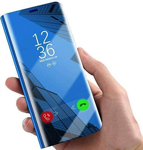 avianna Flip Cover for oppo reno 3 pro, electroplate protective leather with glass semi clear view smart mirror Flip Cover oppo reno 3 pro (blue)