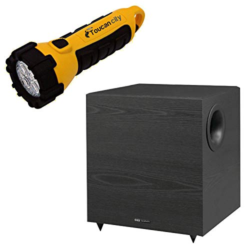 Toucan City LED Flashlight and America 430-Watt 12 in. Down-Firing Powered Subwoofer for Home Theater and Music V1220