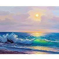 DIYアクリル画、子供のための番号キットによるペイント初心者アクリル絵の具とブラシ装飾ギフト海の日の出ビーチの風景16 * 20インチフレームレス
