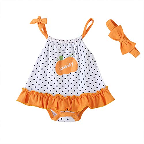 LEXUPE Neugeborenes Baby Cartoon Strap Dot Rüschen Strampler Kleid Bodysuit Outfits(Orange,3M)