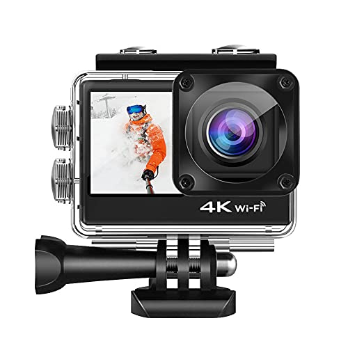 XJPB 4K 60FPS Action Camera Unterwasser wasserdichte Kamera 170 ° Weitwinkel WiFi Sports Cam Touch Dual Screen Kamera mit Fernbedienung Zubehör Kit