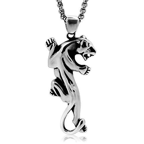 VAWAA Collares Colgantes de Leopardo de Titanio de Acero Que