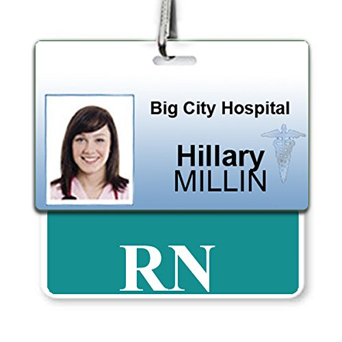 RN Badge Buddy Heavy Duty Horizontal Badge Buddies for Nurses - Spill & Tear Proof Cards - 2 Sided USA Printed Role Identifier Tag Backer by Specialist ID