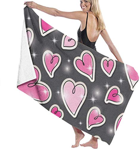 Love Heart Patterns Quick Drying Beach Towel Super Absorbent Towel For Kids And Adults The Best Creative Gift
