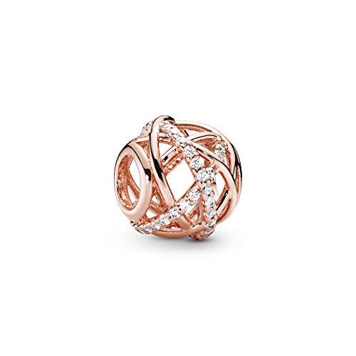 Pandora Damen Rose Sparkling & Polished Lines Charm 14 Karat rosévergoldete Metalllegierung 781388CZ