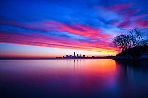 DIY 1000 piezas de regalo de rompecabezas Estados Unidos Cleveland Ohio Puesta de sol Nubes Paisaje urbano Agua Crepúsculo