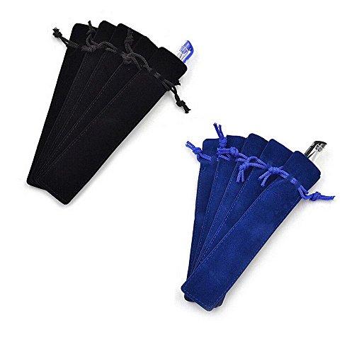 Crqes 10 Pcs Velvet Pen Pouch Sleeve Holder Single Pen Bag Case Pencil Bag,Black and Blue