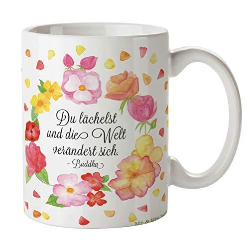 Mr. & Mrs. Panda Frühstück, Kaffeebecher, Tasse Du Lächelst mit Spruch - Farbe