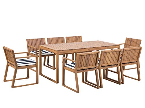 Outdoor Garden Acacia Wood Dining Set Table 8 Chairs Blue and White Cushions Sassari