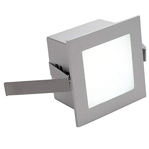 SLV LED Einbauleuchte Frame Basic | Wand- und Deckenleuchte zum Einbau | Eckig, Silber, 3000K Warmweiß | Stilvolle Wandleuchte, Einbau-Strahler LED Treppen-Beleuchtung, Stufen-Licht, Treppenlicht
