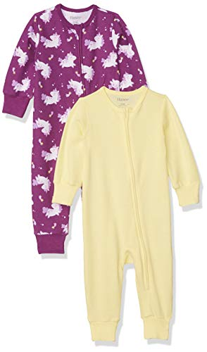 Hanes Ultimate Baby Zippin 2 Pack Sleep and Play Suits, Purple Unicorn, 0-6 Months