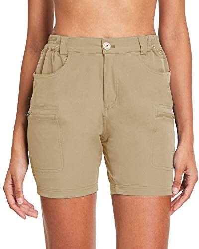 Willit Women's Hiking Cargo Shorts Stretch Active Shorts Summer Shorts Water Resistant Pockets 5 inches Khaki L