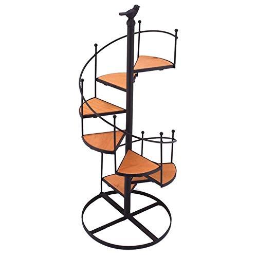 Flower stand Soporte para Flores de Metal para Esquina LF de escaleras en Espiral, para Plantas de Interior y Exterior, Fuerte y Resistente, Hierro y Madera, Color de la Foto, Talla única