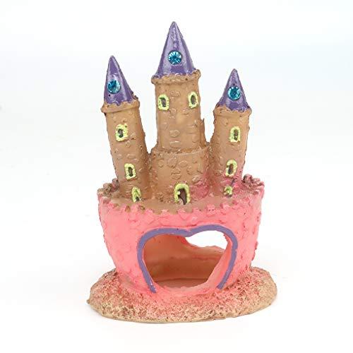 Guangcailun Acuario Rosa Castillo de la Princesa Pescado Cueva decoración del Ornamento del Tanque de Peces