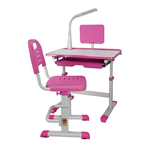 Generic Kinderschreibtisch mit Stuhl und Schublade, Schülerschreibtisch Jugendschreibtisch mit Lampe Schreibtisch Stuhl Höhenverstellbar Rosa