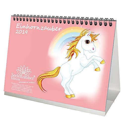 Einhornmagie · DIN A5 · Premium tafelkalender/kalender 2019 · Eenhoorn · Fantasie · Paarden · Volen · Hengst · Stute · Unicorn · Set: 1 wenskaart, 1 kerstkaart · Edition Seelenzauber