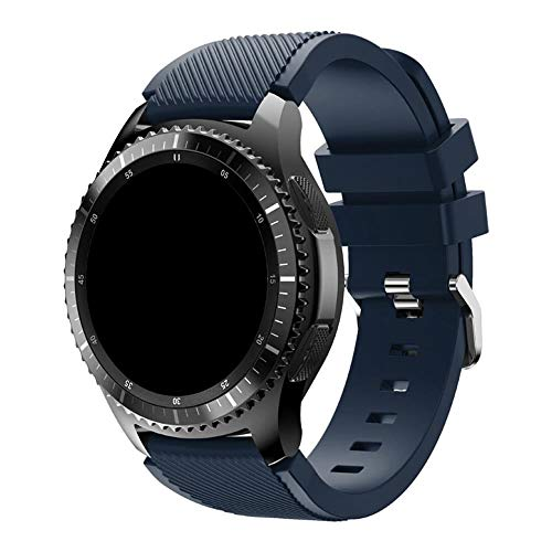 Pulseira Silicone 22mm compatível com Galaxy Watch 3 45mm - Galaxy Watch 46mm - Gear S3 Frontier - Amazfit GTR 47mm - Amazfit GTR 2 - Marca LTIMPORTS (Azul Marinho)