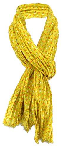zonder merknaam dames halsdoek in geel mosterdgeel bloemenpatroon maat 180 cm x 50 cm - doek sjaal katoen