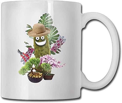 N\A Lustige grüne Essiggurken Pflanzen Kaffeetassen 11 Unzen Reisegeschenk Keramik-Teetasse Familie und Freund