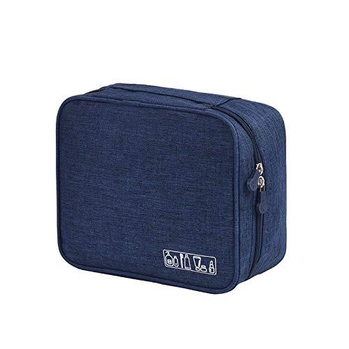 FRTU Trousse de toilette Sac de lavage carré de grande capacité pliant sac de rangement de voyage multifonction portatif bleu foncé