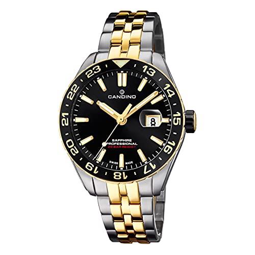 Candino Herren Uhr Analog C4718/3 Edelstahl Armbanduhr Silber Gold UC4718/3 Analoguhr